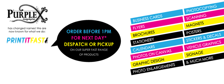 Print it fast aka purplex san remo australia we offer high quality printing and signage for you promotional needs with shipping australia wide founded 2009 products business cards reheart Images