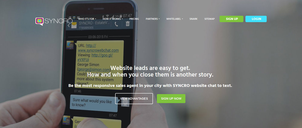 SYNCRO Website Chat - Live Chat to Text cover