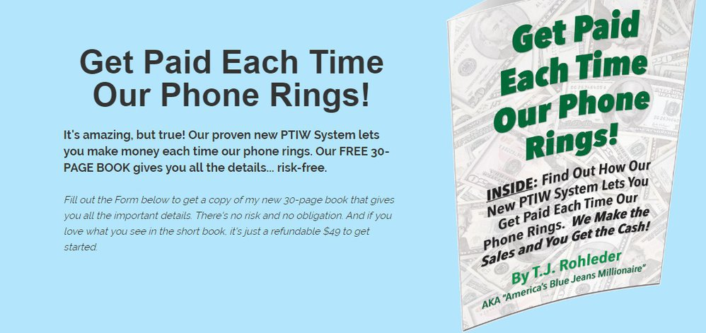 FREE BOOK....Get Paid Each Time Our Phone Rings!  cover