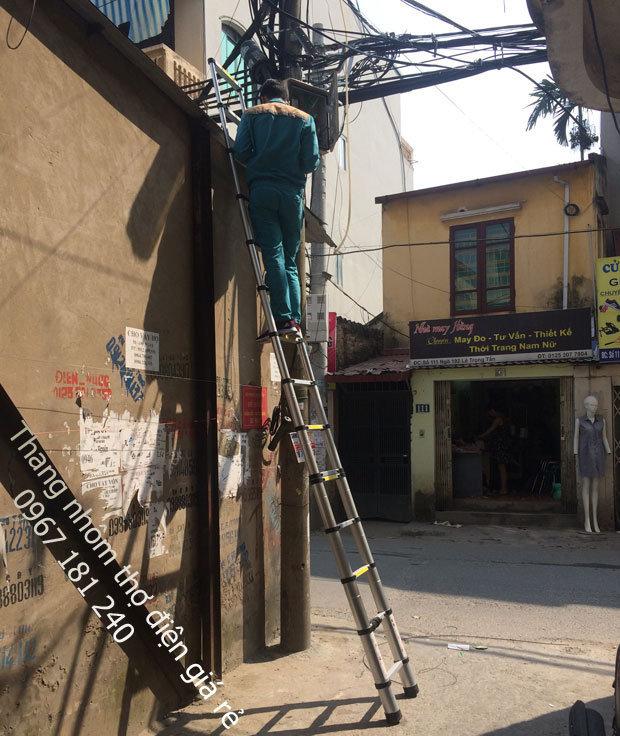 Thang nhôm rút 5m dùng cho thợ điện ( thang rút đơn ) cover