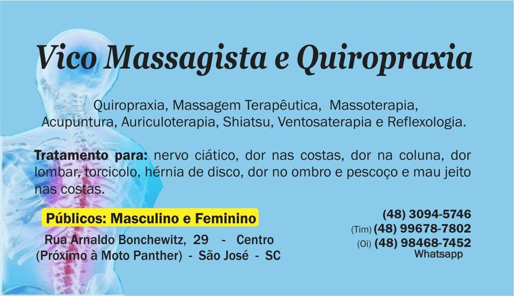 Vico Massagista e Quiropraxia - Massagem Terapêutica, Massoterapia  cover
