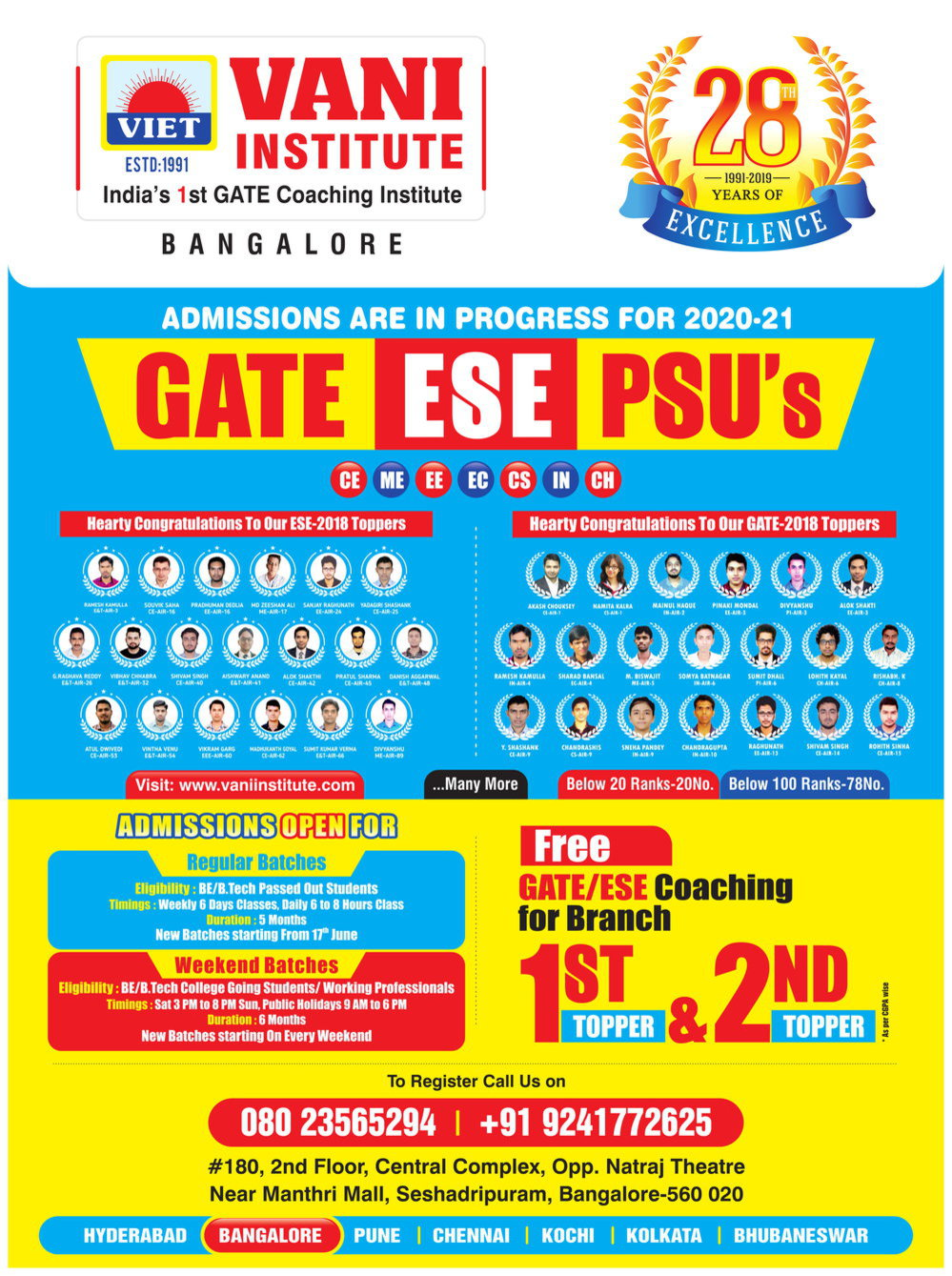 VANI INSTITUTE BANGALORE--- GATE COACHING IN BANGALORE cover
