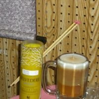 """Candle Works,"""" hand made soy candles"""" and Hazelglass, """" hand blown glass"""""""