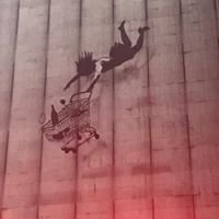 """Banksy's """"Falling Shopper"""""""