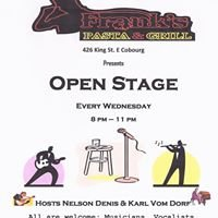 Teen Jam at Frank's Pasta and grill 8pm to 9pm before Open Mic 8 to11
