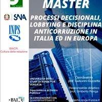 Master Uni II livello in Processi decisionali, lobbying e anticorruzione