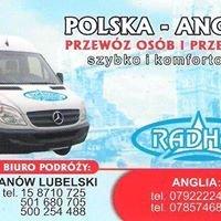 Radhał - Przewóz osób i przesyłek Polska Anglia Polska